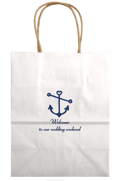 Welcome To Our Wedding Weekend Love Anchor Gift Bag In White Or Navy